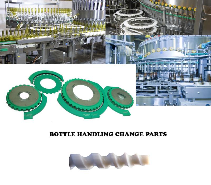 Filler Change Parts, Bottle Filling OEM parts, Bottle Labeller Container Handling Parts, filler Star Wheels, filler Feed Screw