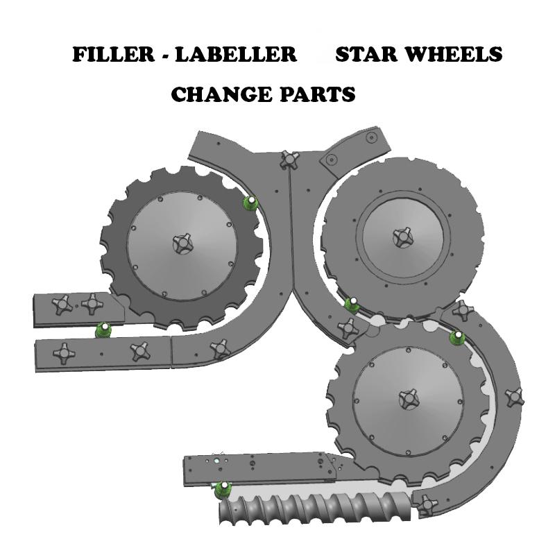 Bottle Filler Labeller Change Parts, Labelling Machine Star Wheels, Bottle filler Change Parts, Bottle filler Labelling Machine Change Parts